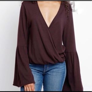 Chaser Surplice Bell Sleeve Long Sleeve Small Plum